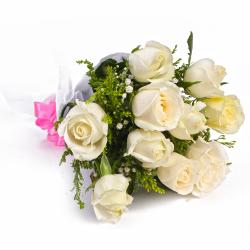 Bunch of Ten White Roses Tissue Wrapping for Jalandhar