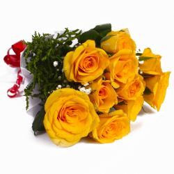 Bunch of Ten Yellow Roses Tissue Wrapped for Jalandhar