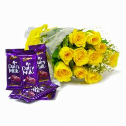 Bunch of Ten Yellow Roses with Cadbury Dairy Milk Chocolate Bars for Kanchipuram
