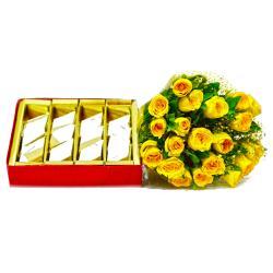 Bunch of Yellow Roses with 500 Gms Kaju Barfi for Kolkata