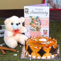 Butterscotch Cake and Teddy with Anniversary Card for Baroda