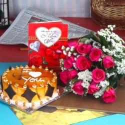Butterscotch Cake with Pink Roses Bouquet and Love Card for Baroda