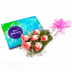 Cadbury Celebration Chocolate Box and Bouquet of 6 Pink Roses for Jalandhar