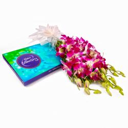 Cadbury Celebration Chocolate Box and Bouquet of Six Purple Orchids for Jaipur