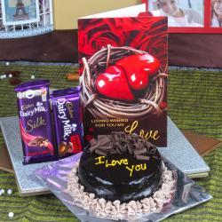 Cadbury Dairy Milk Chocolate with Chocolate Cake and Love Card for Bharuch