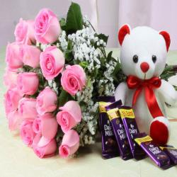 Cadbury Dairy Milk Chocolate with Pink Roses Bouquet and Cute Teddy Bear for Jalandhar