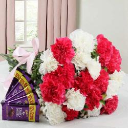 Carnation Bouquet and Cadbury Dairy Milk Chocolate Combo for Hospet