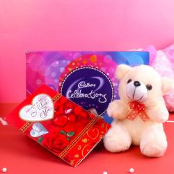 Celebration Chocolate Pack and Teddy Bear with Greeting Card for Gurgaon
