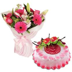Cheerful Flowers With Strawberry Cake for Baroda