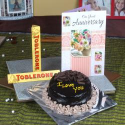 Chocolate Cake and Anniversary Card with Toblerone Chocolates for Rajahmundry