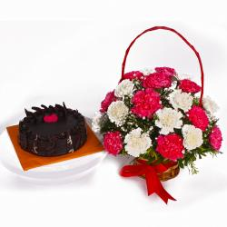 Chocolate Cake and Basket of Colorful Carnations for Jaipur