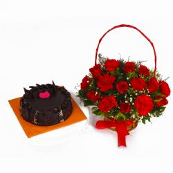 Chocolate Cake and Basket of Red Roses with Carnations for Dewas