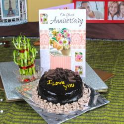 Chocolate Cake and Good Luck Plant with Anniversary Greeting Card for Bankura