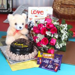 Chocolate Cake Treat Fresh Flowers with Teddy and Assorted Chocolate. for Gandhinagar