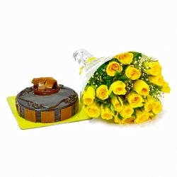 Chocolate Cake with 20 Yellow Color Roses for Dewas