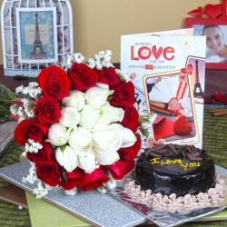 Chocolate Cake with Attractive Roses Bouquet and Love Card for Bangalore