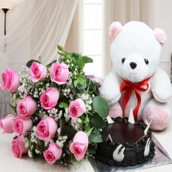 Chocolate Cake with Teddy and Roses Bouquet for Raichur