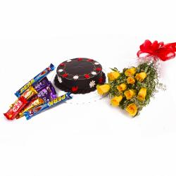 Chocolate Cake with Yellow Roses and Cabury Chocolate Bars for Indore