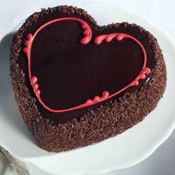 Chocolate Choco Chips Heart Shape Cake for Baroda