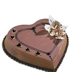Chocolate Heart Shape Cake for Dewas