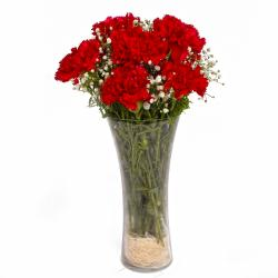 Classic Vase with Red Carnations for Kolkata