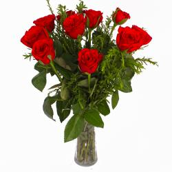 Classy Vase of Ten Red Roses for Ghaziabad
