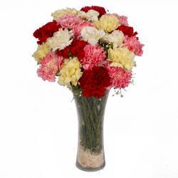 Colorful 21 Carnations in Glass Vase for Kolkata