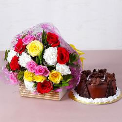 Colorful Fresh Flowers with Yummy Chocolate Cake for Gurgaon