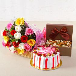 Colorful Roses with Half Kg Strawberry Cake and Assorted Dryfruits Combo for Kapurthala