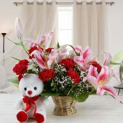 Combo of Exotic Flower Basket with Teddy Bear for Vasco Da Gama
