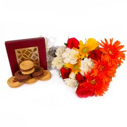 Combo of Fresh Seasonal Flowers with Assorted Cookies for Jaipur