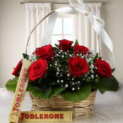 Combo of Roses and Toblerone Chocolates Online for Hospet