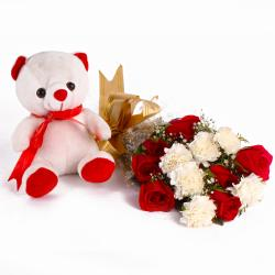 Combo of Teddy with Red Roses and White Carnations for Jaipur