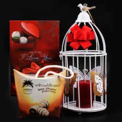 Combo of White Bird Cage with White Chocolate Coated Date included Candle and I Love You Card for Hospet