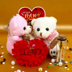 Couple Teddy Holding Heart with Love Card and Customize Message Scroll Bottle for Lucknow