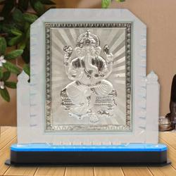 Crystal Frame of Silver Plated Ganesh for Hospet