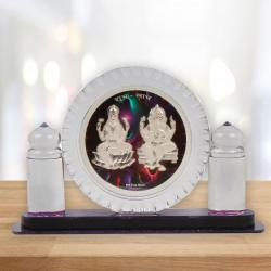 Crystal Frame of Silver Plated Laxmi and Ganesh for Jaipur