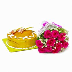 Cute 10 Pink Roses Bunch with Butterscotch Cake for Ghaziabad