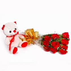 Cute Teddy Bear with Bunch of Ten Red Roses for Bhopal