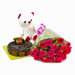 Cute Teddy Bear with Pink Roses Bunch and Chocolate Cake for Lucknow