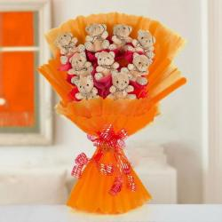 Cute Teddy Bouquet Online for Baroda