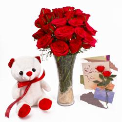 Cute Teddy with Red Roses Vase and Greeting Card Combo for Bangalore