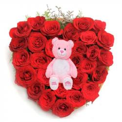 Cute Teddy with Rose Heart For You for Mathura