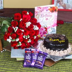 Dairy Milk Chocolate Combo with Eggless Cake and Birthday Card for Jaipur