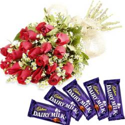 Dairy Milk Delight with Red Roses for Ahmedabad