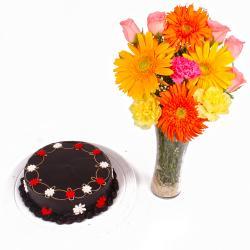 Dark Chocolate Cake with Dozen Flowers in Vase for Indore