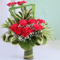 Designer Fillers with Red Carnation in Vase for Vasco Da Gama
