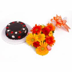 Dozen Colorful Flowers Hand Tied and Chocolate Cake for Karaikudi