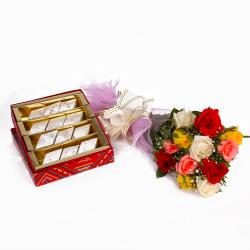 Dozen Colorful Roses with Kaju Katli for Madras