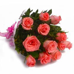 Dozen Pink Roses in Cellophane Wrapped for Siliguri